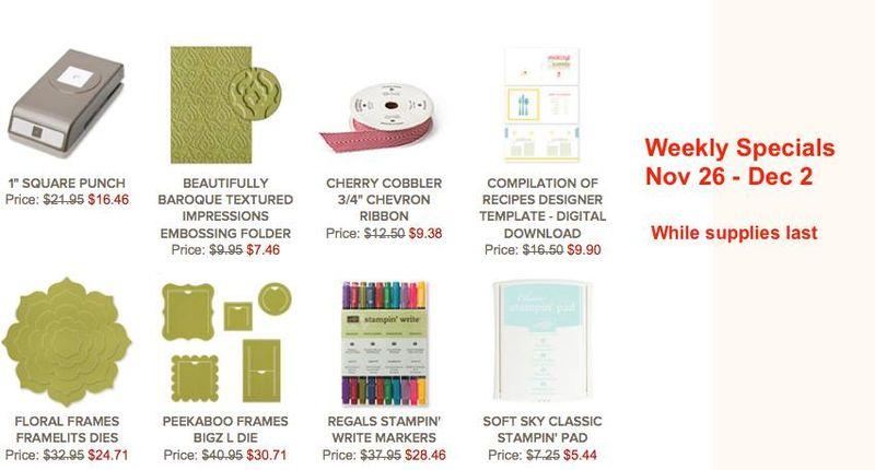 Stampin' Up! Specials November 26-December 2